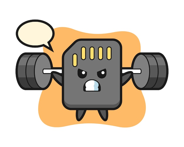 Sd-kaart mascotte cartoon met een barbell, schattig stijlontwerp voor t-shirt