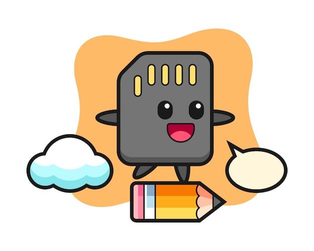 Sd-kaart mascotte illustratie rijden op een gigantisch potlood, schattig stijlontwerp voor t-shirt