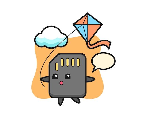 Sd-kaart mascotte illustratie speelt vlieger, schattig stijlontwerp voor t-shirt