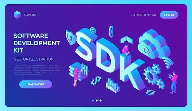 Sdk. software ontwikkeling kit programmeertaal technologie. 3d isometrisch met pictogrammen en karakters.