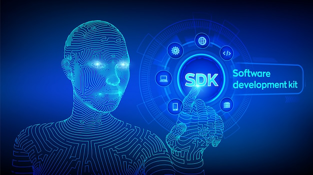 Sdk. software ontwikkeling kit programmeertaal technologie op virtueel scherm. technologie. wireframed cyborghand wat betreft digitale interface. ai. illustratie.