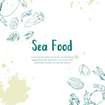 Sea food hand getrokken illustratie