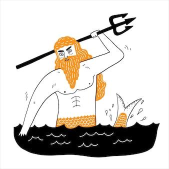 Sea god poseidon neptunus geschikt voor iconen, lgods, overtuigingen, oudheid, bijgeloof, vector illustratie hand getrokken