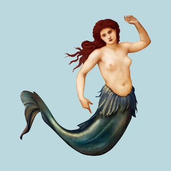 Sea-nymph vectorillustratie, geremixt van kunstwerken van sir edward coley burne & ndash; jones