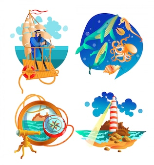 Sea ocean nautical symbols set