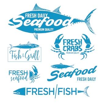 Seafood labels collectie Gratis Vector