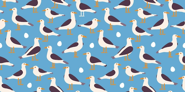 Seagull cartoon kleurrijke zeevogel naadloze patternr vlakke afbeelding