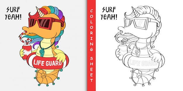 Seahorse eenhoorn de badmeester, kleurplaat