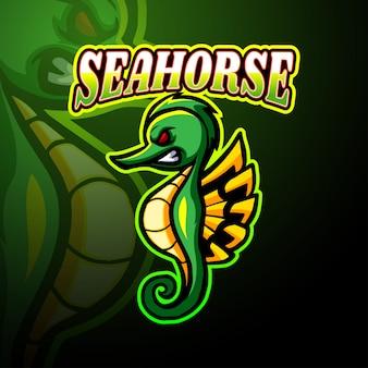 Seahorse esport logo mascotte ontwerp