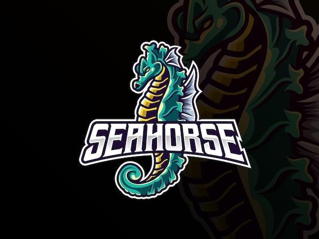 Seahorse mascotte esport logo. zeepaardje mascotte logo. mascotte van wilde zeepaardjes, voor esports-team.