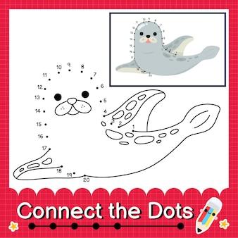 Seal kids puzzel verbind de stippen werkblad voor kinderen tellende nummers 1 tot 20 to