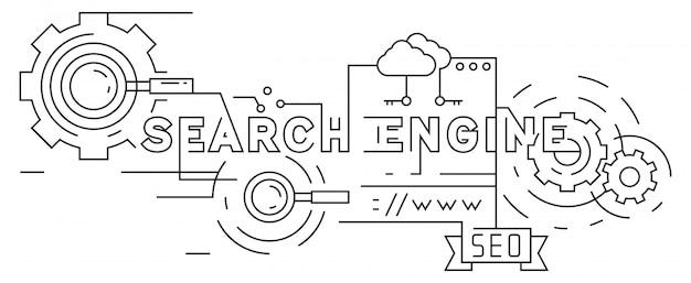 Search engine optimization flat line design