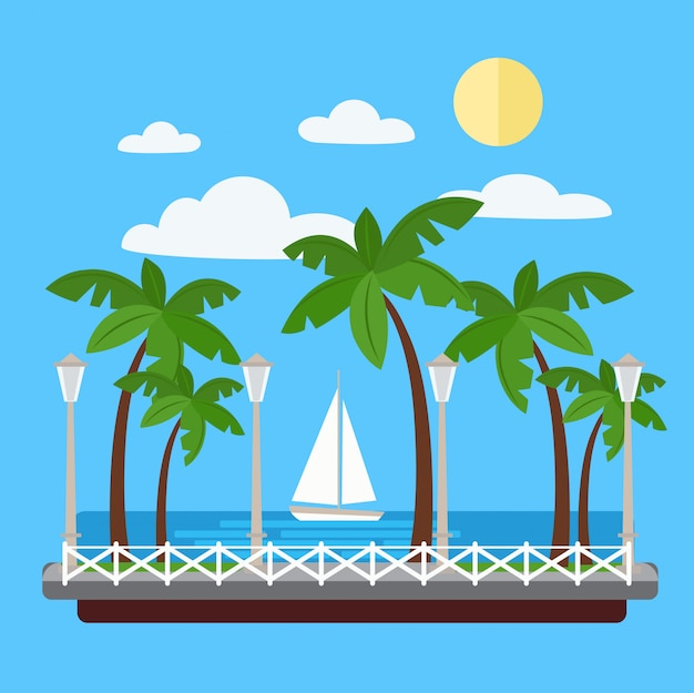 Seaside promenade met palmbomen en jacht