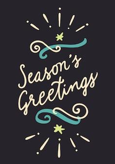 Season's greetings vintage hand getrokken poster. hand belettering