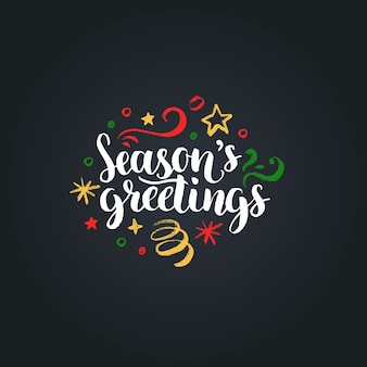 Seasons greetings belettering op zwarte achtergrond. hand getekend kerst illustratie.