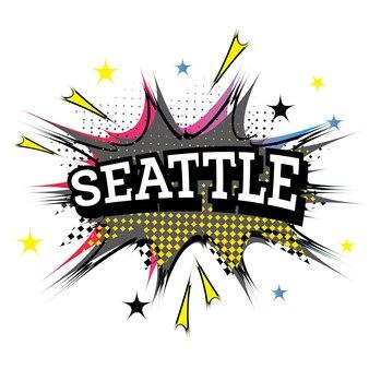 Seattle komische tekst in pop-art stijl. vectorillustratie.