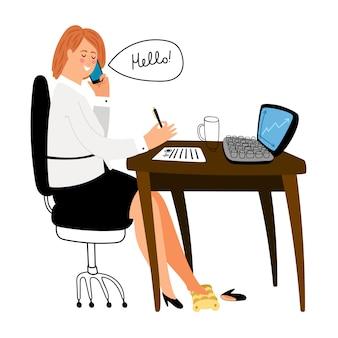 Secretaresse bij bureauillustratie