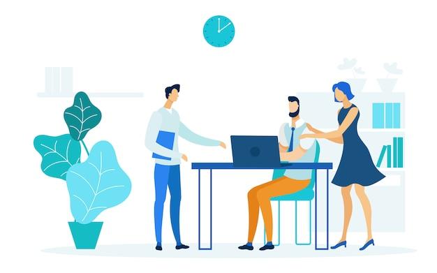 Secretaresses die boss flat vector illustration helpen