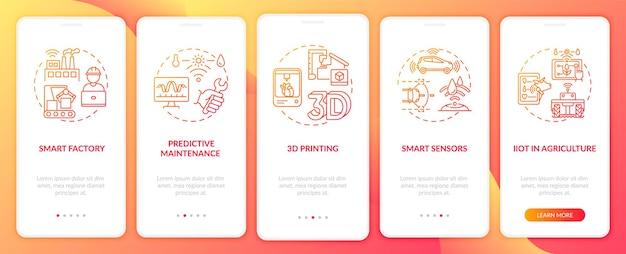 Sector .0 trends op het scherm van de mobiele app-pagina met concepten. slimme sensoren, doorloopstappen voor voorspellend onderhoud. ui-sjabloon
