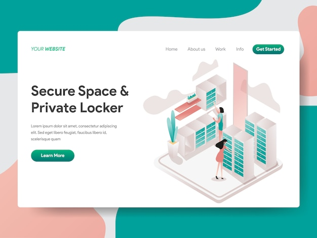 Secure space en private locker isometrisch voor de webpagina