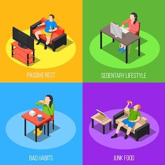 Sedentaire levensstijl ontwerpconcept