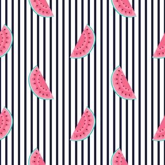 Segmenten van watermeloen. horizontaal gestreept zomer naadloos patroon. gebruikt voor designoppervlakken, stoffen, textiel, verpakkingspapier, behang.