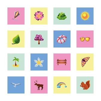Seizoenen lente zomer cartoon set