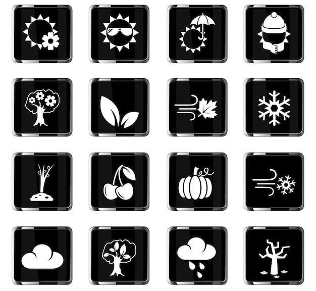 Seizoenen webpictogrammen voor gebruikersinterfaceontwerp