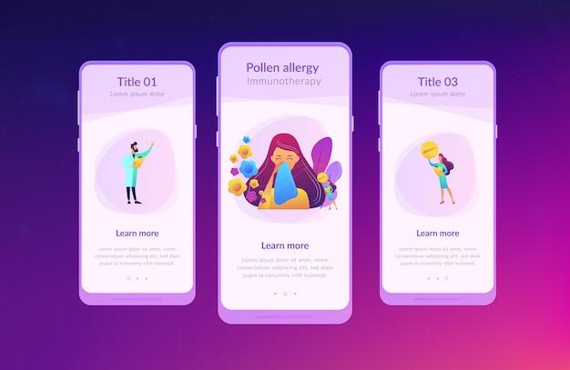 Seizoensgebonden allergie app interface sjabloon.