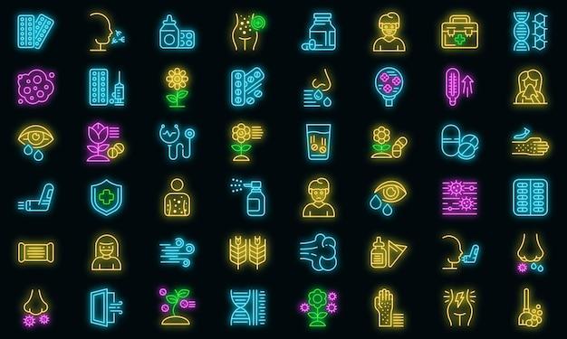 Seizoensgebonden allergie pictogrammen instellen. overzicht set van seizoensgebonden allergie vector iconen neon kleur op zwart