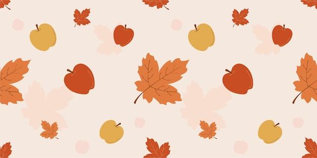 Seizoensgebonden herfst naadloos bloemenpatroon met appels en esdoornbladeren premium vector
