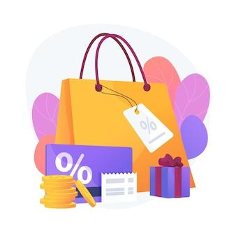 Seizoensgebonden kortingen. cadeautjes kopen, boetiekjes bezoeken, luxe winkelen. promotiecoupons met prijsverlaging, speciale vakantieaanbiedingen. vector geïsoleerde concept metafoor illustratie