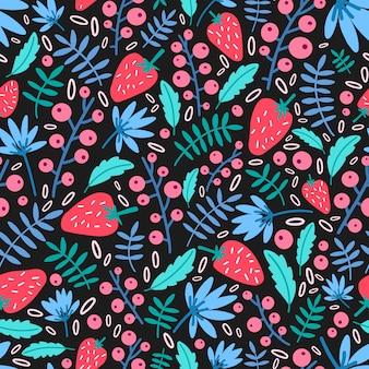 Seizoensgebonden naadloze patroon met tuinaardbeien en bladeren op zwart