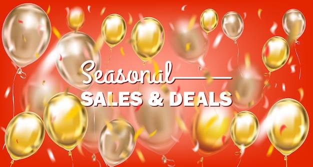 Seizoensgebonden verkoop en aanbiedingen rode gouden banner met metalen ballonnen