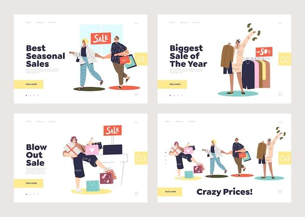 Seizoensgebonden verkoop- en shopping-bestemmingspagina's met stripfiguren, mensen met boodschappentassen