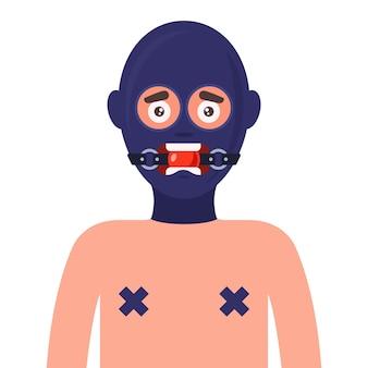 Seksslavin in latex masker en mond gesnoerd. vlakke afbeelding