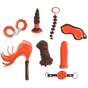 Seksspeeltjes, vibrators, anale ballen, phallos, anale pluggen handboeien sleutelring voor penis vagina condooms maskers. doodle illustratie met sextoys-element voor sexshop.