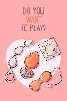 Seksspeeltjes voor volwassenen. accessoires voor erotische spellen.
