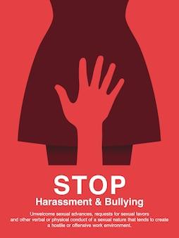 Seksuele intimidatie en werkplek pesten concept poster.