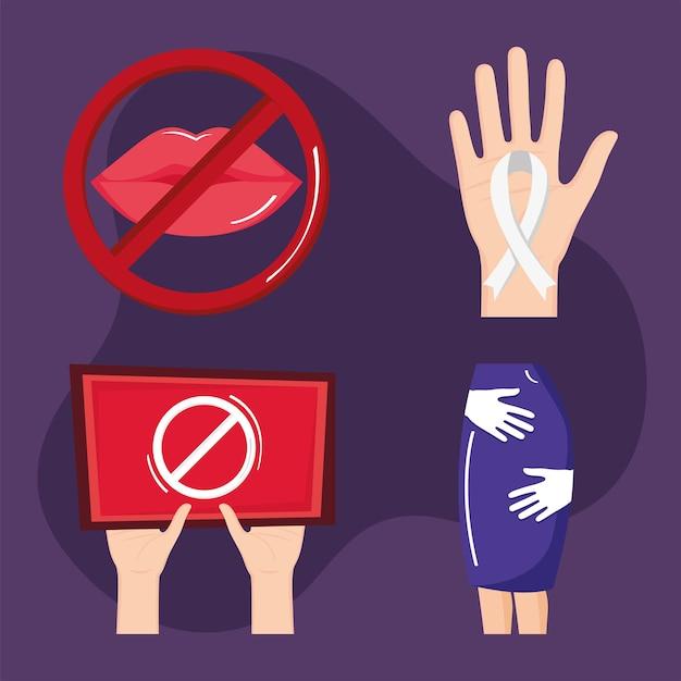 Seksuele intimidatie vier pictogrammen Premium Vector