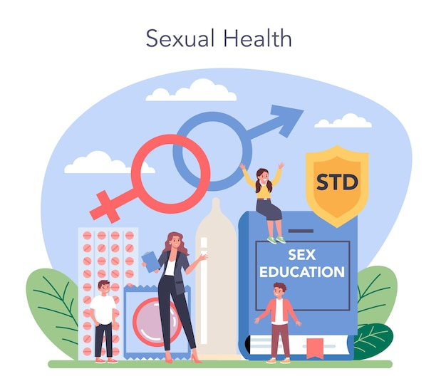 Seksuele opvoeding concept illustratie