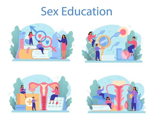 Seksuele opvoeding concept set. seksuele gezondheidsles voor jongeren. anticonceptie- en voortplantingssysteem. seksualiteit en geslacht.