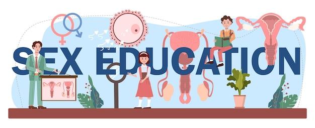 Seksuele voorlichting typografische kop. les seksuele gezondheid voor jongeren. anticonceptie gebruiken, vrouwelijk en mannelijk reproductiesysteem. geïsoleerde vectorillustratie