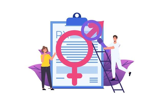 Seksuoloog consult psychologische seksuele problemen en gezondheid. vector illustratie.