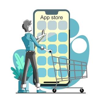 Selecteer en koop een app in de app store of op de markt