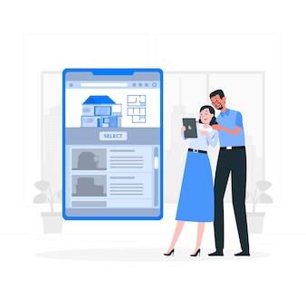 Selecteer huis concept illustratie