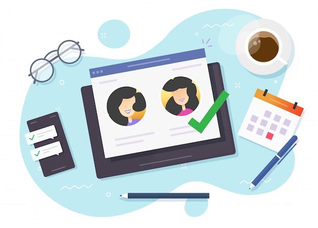 Selecteer mensen online op digitale computer of datingwebsite-app en meisjespartner die voor een relatie kiest