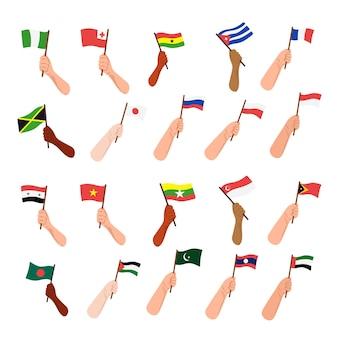 Selectie hand houden vlag van elk land doodle stijl