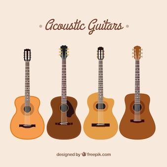 Selectie van akoestische gitaren in vlakke vormgeving