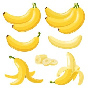 Selectie van bananen in plat ontwerp